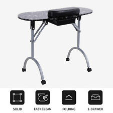 Black Manicure Nail Table Foldable Station Desk Spa Beauty Salon Portable
