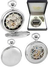 Reloj De Bolsillo Woodford Completo Cazador esqueleto Back Cromo Placa Grabado Gratis 1108
