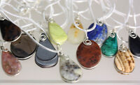 Real Semi Precious stone Pendant with Sterling Silver chain + Free Velvet  Pouch