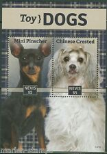 Nevis 2014 Toy Dogs Mini Pinscher & Chinese Crested Souvenir Sheet Mint Nh