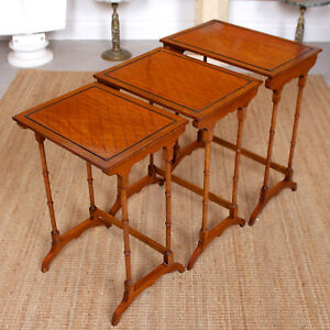 Antique Nest of Tables Satinwood Crossbanded 3 Side Tables Tall Georgian