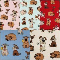 BAUMWOLLSTOFF [Comic-Hund Cartoon] 5 Farben | Baumwolle Meterware Kinderstoff
