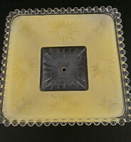 "Vtg YELLOW light fixture Frosted Glass Ceiling Shade Square Art Deco 11"" MCM"