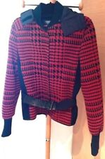 PRADA Leather Trim Belted Sport Jacket Navy Red Houndstooth  Tg 44 Italy