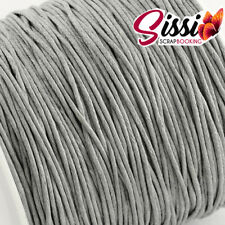 LOT 5 METRE DE FIL DE COTON CIRE GRIS CLAIR GREY BIJOU PERLE CORDON CARTE 0.8mm