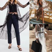Women Ladies Summer Polka Dot Mesh Black Long Maxi Dress Party Clubwear Sundress