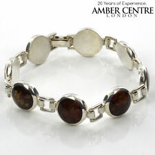 Italian Modern Design Baltic Amber Bracelet 925 Sterling Silver RRP£254-BR029
