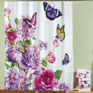 Splash Of Beauty Butterfly Watercolor Floral Bathroom Polyester Shower Curtain