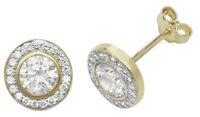 9ct Carat White/Yellow Gold Ladies Cluster Stud Earrings with Cubic Zirconia/CZ
