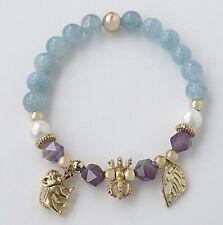 8mm Blue Aquamarine Man Made Pearl Round Beads Stabilized Alloy Bracelet BHLM16