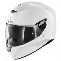 Shark Dark D-Skwal Full Face DVS Motorcycle Motorbike Helmet - Blank WHU White
