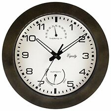 "Equity by La Crosse 29005 Outdoor Thermometer and Humidity Wall Clock,10"", Brown"