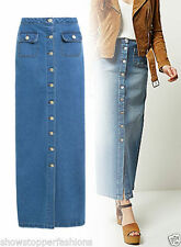 Denim Full Length Maxi Skirts for Women