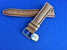 Original Fortis 20mm Light Brown Thick Watch Band With Black Stitching & Buckle