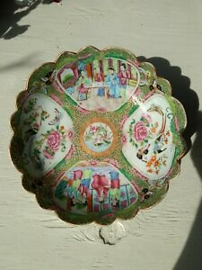 Antique Chinese Porcelain Bowl Rose Medallion Canton