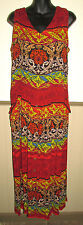 BILA women's medium sleeveless dress Boho maxi BEAUTIFUL floral print reds EUC
