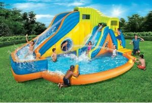 Banzai Pipeline Twist Aqua Park  Inflatable Outdoor Water Pool and Slides (21ft)