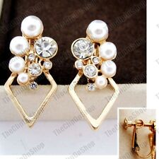 2.7cm long CLIP ON screw WHITE PEARL CRYSTAL EARRINGS gold fashion rhinestone