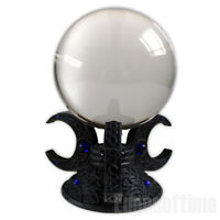 TRIPLE CRESCENT MOON HOLDER WITH 11CM CRYSTAL BALL HEALING WICCA PAGAN HALLOWEEN