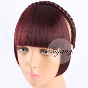 Sides Long Hair Bangs for Women Flat Neat Hair Fringe Braided Hairband Synthetic