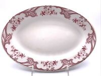 Shenango RimRol Red Floral 10 1/2 Oval Platter Restaurant Ware Railroad China