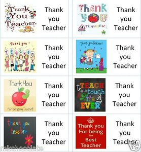 40 x Thank you Teacher labels/stickers for cake/sweets/presents/gift bags