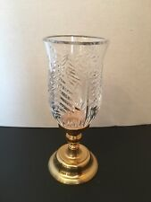 Solid Brass and Lead Crystal Glass Candle Holder Hurricane Lamp