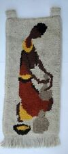 Vtg Mid Century Wool Rug Hanging Wall Art Tapestry Mexican Woman Tribal Abstract
