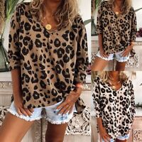 UK Women Leopard Print Long Sleeve Shirt Tops Ladies Loose Blouse Plus Size C-p