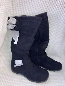 Wanted Shoes Womens Ruched Galloway Knee High Zipper Buckle Boots Black Size 6