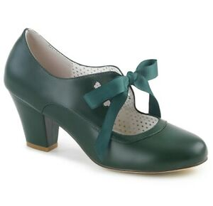 Size 3 Faux Leather Heels Pin Up Couture WIGGLE Dark Green Vintage Style 50s UK