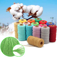 2mm Macrame Rope Natural Coloured Cotton Twisted Cord Artisan Hand Craft
