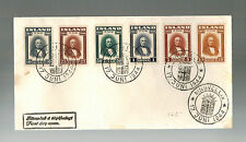 1944 Pingvellir Iceland First Day Cover FDC Complete set  # 240-245