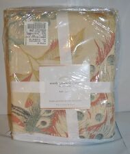 Pottery Barn Everly Peacock Bird & Flowers Duvet Full Queen Pink Blue Ivory Gree