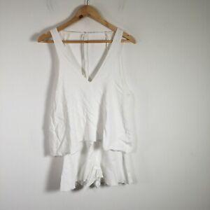 Bec & Bridge womens playsuit romper size 8 white V neck sleeveless viscose
