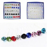 20 Paar Kristall Strass Kunststoff Runde Ohrstecker Frauen JewelryGirl I7B2