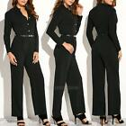 Women Long Sleeve Rompers Jumpsuit Black Stretch Bandage Overalls Casual Pants