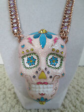 NWT Auth Betsey Johnson Sugar Critters Large Pink Sugar Skull Statement Necklace