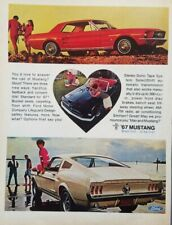 1967 Ford Mustang Car Photo Red White Convertible Print Ad