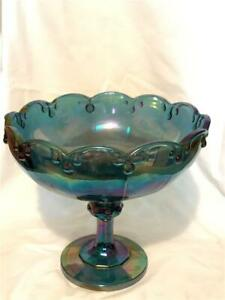 """Antique Blue Iridescent Beautiful Carnival Glass 8.5"""" Colorful Serving Bowl"""