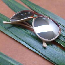 "Vintage Retro Style French Tan Aviator Sunglasses w/ Reflective Lenses 5.50"""