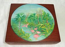 1980s Haitian Mahogany Covered Box w Painted Pelican Motif by R. Dupiton (Stea)
