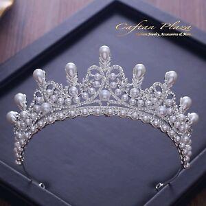 Tiara XL Diadem Krone Strass Kristall Perlen Brautschmuck Hochzeit Silber NEU