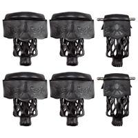 Set of 6 Heavy Duty Leather Billiard Pool Table Pockets - Black Shield