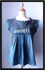 ISABEL MARANT LUCE LEAL blue embroidered top size 1 blouse denim T 1