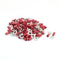 100PCS RV1.25-6 Electric Wring Ring Red Plastic Insulating Crimp Terminals