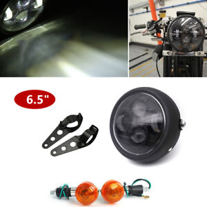 """Cafe Motorcycle Headlight Turn Singal Lights 6.5"""" LED Projector Cold White Light"""