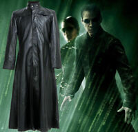 Neo Matrix Trench Coat Keanu Reeves Black Leather Trench Coat Halloween Special