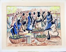 EXQUISITE RARE SIGNED HAITIAN ART WATERCOLOR BY FAMOUS ARTIST JOSEPH THONY MOISE