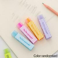 10Pcs Cute Korean Office School Stationery Long Strip Rubber Pencil Eraser W7F3
